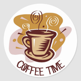 "Funny steaming hot mug saying ""Coffee Time""! Classic Round Sticker"