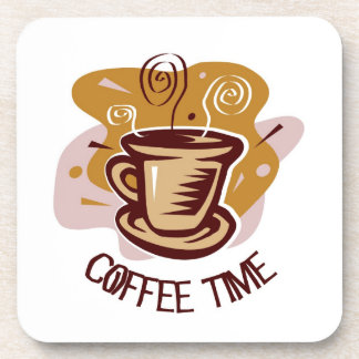"""Funny steaming hot mug saying """"Coffee Time""""! Drink Coasters"""