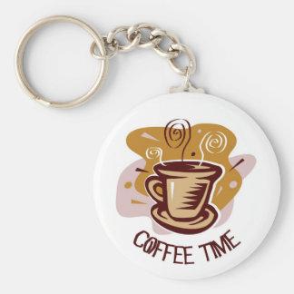 "Funny steaming hot mug saying ""Coffee Time""! Key Chains"