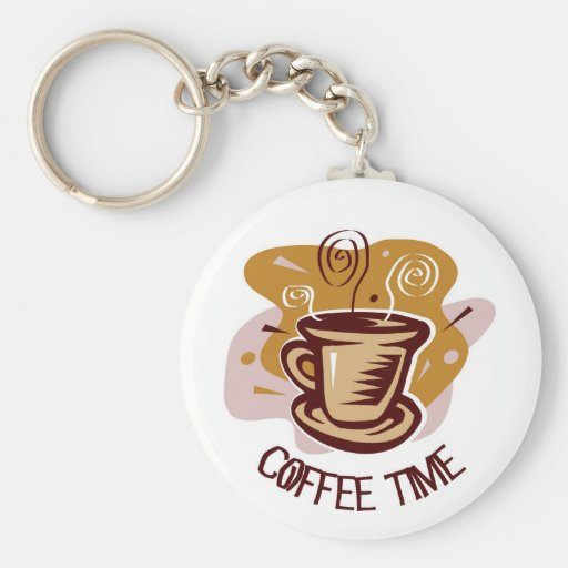 "Funny steaming hot mug saying ""Coffee Time""! Basic Round Button Keychain"