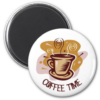 "Funny steaming hot mug saying ""Coffee Time""! Magnet"
