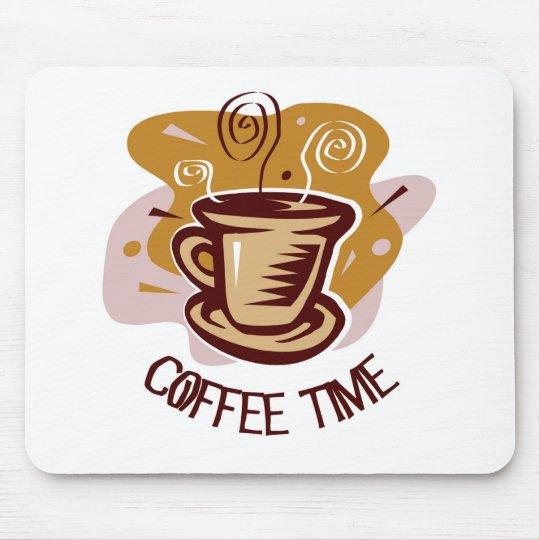 "Funny steaming hot mug saying ""Coffee Time""! Mouse Pad"