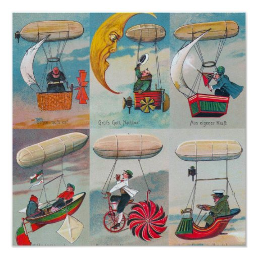 funny steampunk air machines wacky inventions poster