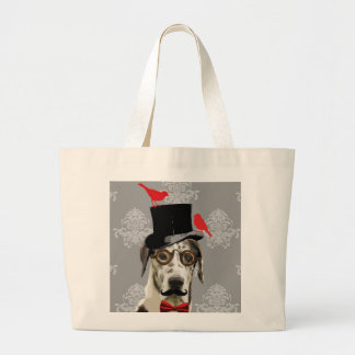 Funny steampunk dog large tote bag
