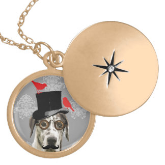 Funny steampunk dog locket necklace