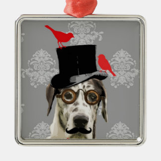 Funny steampunk dog metal ornament