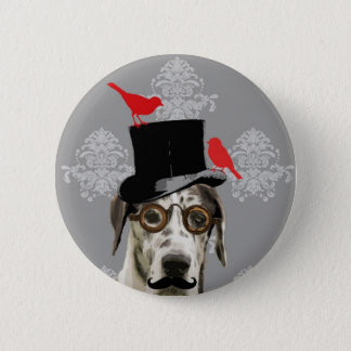 Funny steampunk dog pinback button