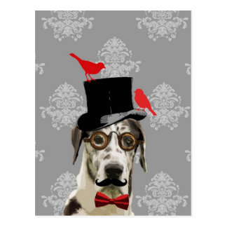 Funny steampunk dog postcard