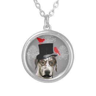 Funny steampunk dog silver plated necklace