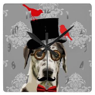Funny steampunk dog square wallclocks