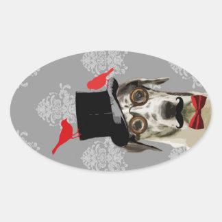 Funny steampunk dog oval sticker