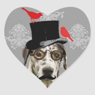 Funny steampunk dog heart sticker