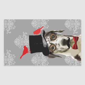 Funny steampunk dog rectangular sticker