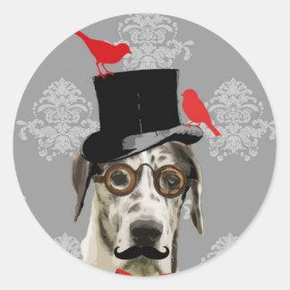 Funny steampunk dog classic round sticker