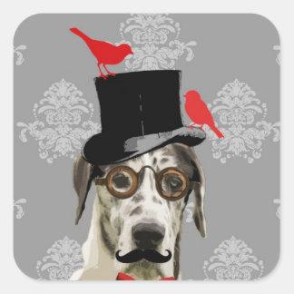Funny steampunk dog square sticker