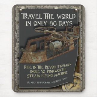 Funny Steampunk Flying Machine Travel Mouse Pad