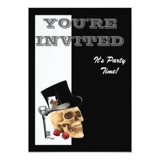Funny Steampunk gothic gambler skull Card
