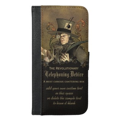 Funny Steampunk Mad Hatter Personalized iPhone 6/6S Plus Wallet Case