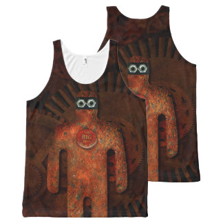 Funny Steampunk Robot - The Tarnished Super Hero All-Over Print Tank Top