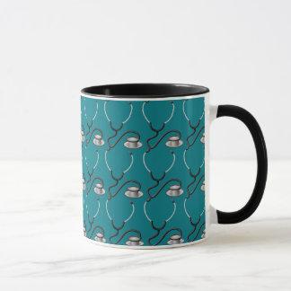 Funny stethoscope for doctor on dark teal green mug