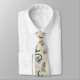 Funny stethoscopes for doctors on beige champagne tie