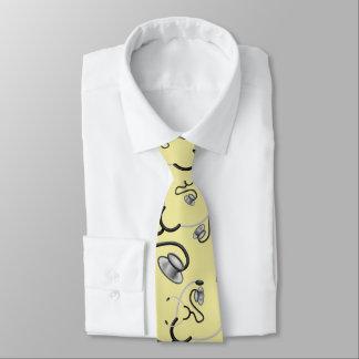 Funny stethoscopes for doctors on cream yellow neck tie