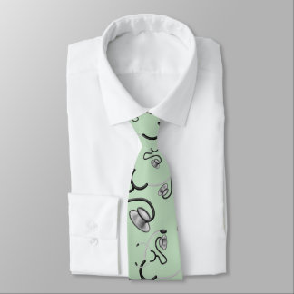 Funny stethoscopes for doctors on mint green tie