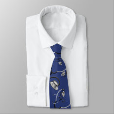 Funny stethoscopes for doctors on navy blue tie at Zazzle