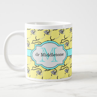 Funny stethoscopes for doctors on yellow name large coffee mug