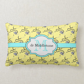 Funny stethoscopes for doctors on yellow name lumbar pillow