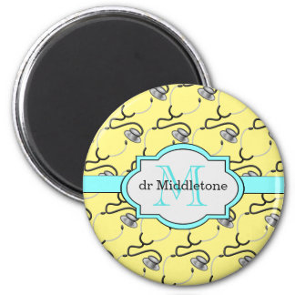 Funny stethoscopes for doctors on yellow name magnet