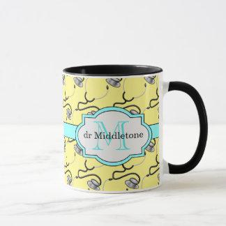Funny stethoscopes for doctors on yellow name mug