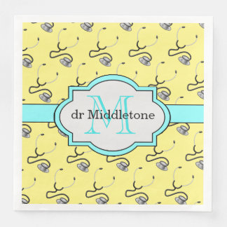 Funny stethoscopes for doctors on yellow name paper dinner napkin