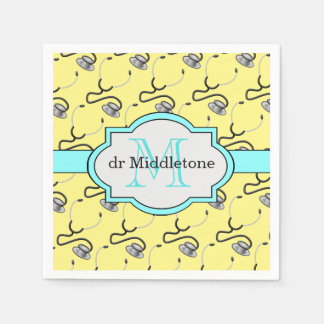 Funny stethoscopes for doctors on yellow name paper napkin