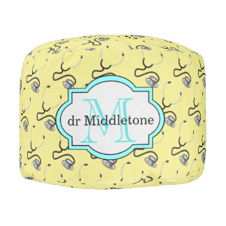 Funny stethoscopes for doctors on yellow name pouf