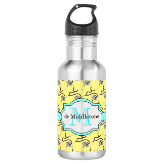 Funny stethoscopes for doctors on yellow name stainless steel water bottle
