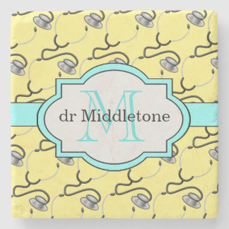 Funny stethoscopes for doctors on yellow name stone coaster