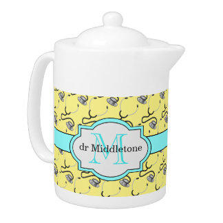 Funny stethoscopes for doctors on yellow name teapot