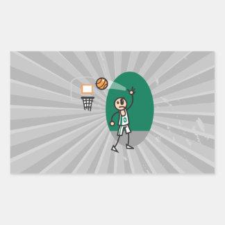 funny stick figure playing basketball rectangular sticker