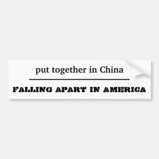 funny sticker falling apart in America