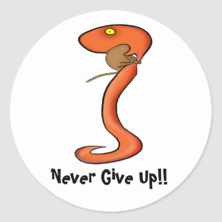 Funny Sticker: Never Give Up !! Classic Round Sticker