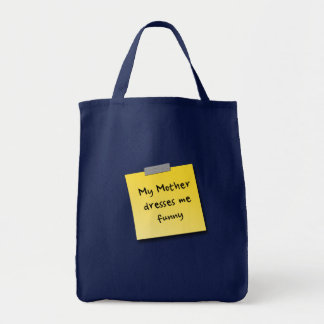Funny sticky note on a Grocery Tote Bag