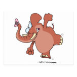 funny stomping elephant cartoon postcards