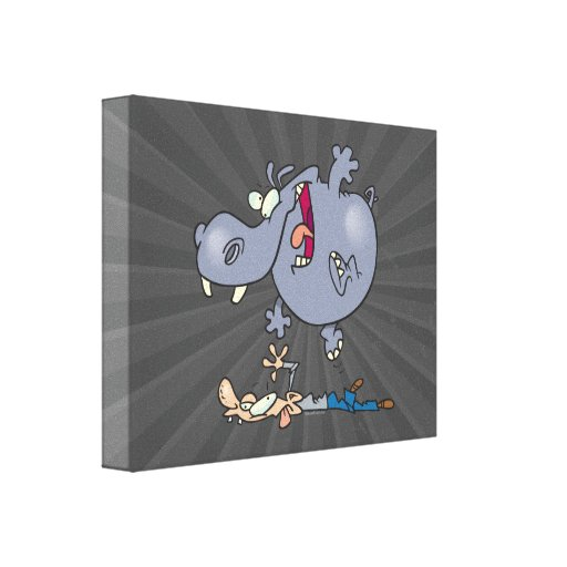 funny stomping hippo cartoon canvas print