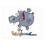 funny stomping hippo cartoon postcard