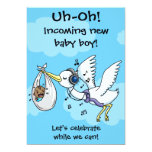"Funny Stork & Screaming Baby Boy ""Incoming!"" Baby Shower Invitation"