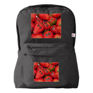 Funny strawberries. backpack