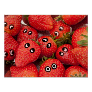 Funny strawberries. poster