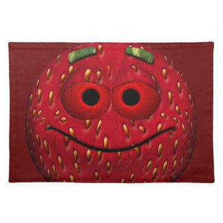 Funny Strawberry Emoticon Cloth Place Mat