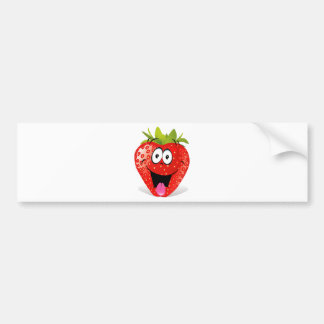 Funny Strawberry Face Sticking Out Tongue Bumper Sticker